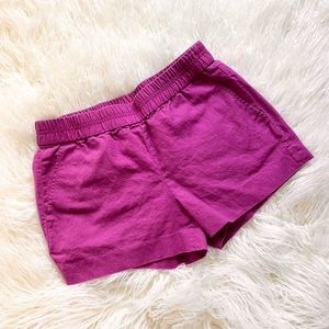 J. Crew purple linen boardwalk pull on shorts 4